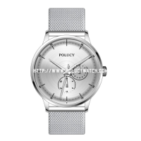 Simple dial two small eyes mesh watch P9517M