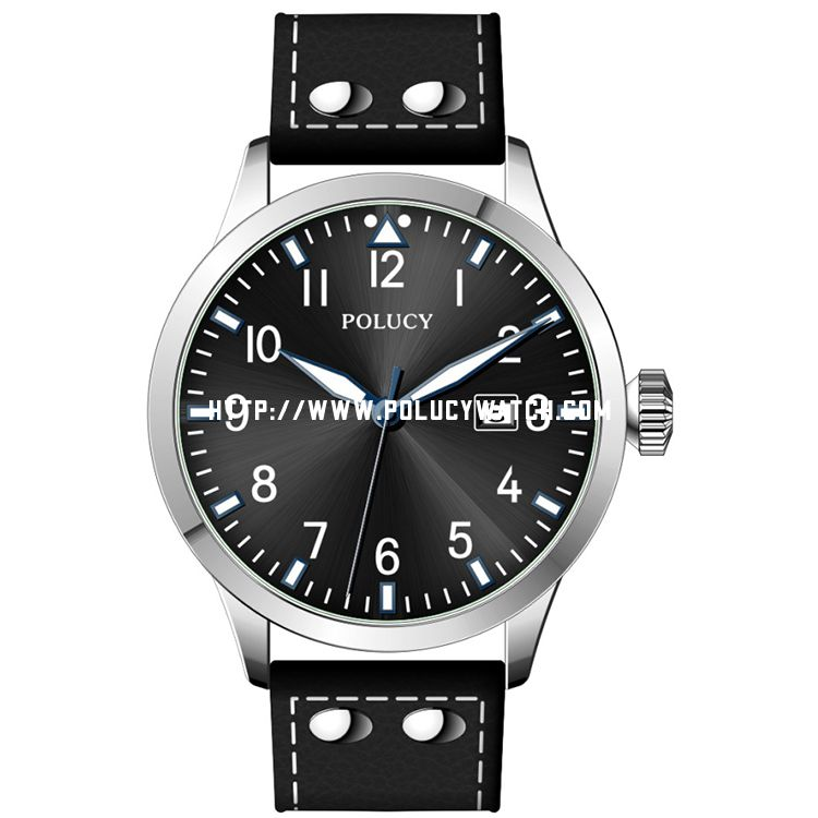 Simple Leather men Watch 34130M-B