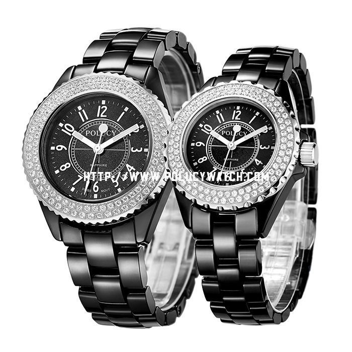 Ceramic Couple Stone Watch 60002MC2