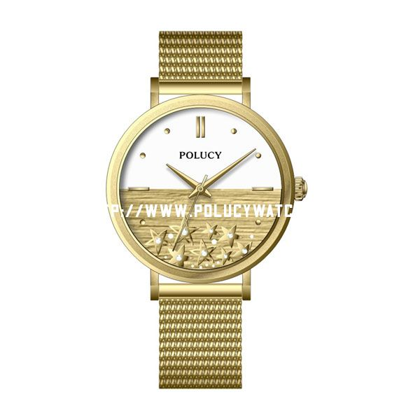 Simple Mesh Gold Watch P5941L
